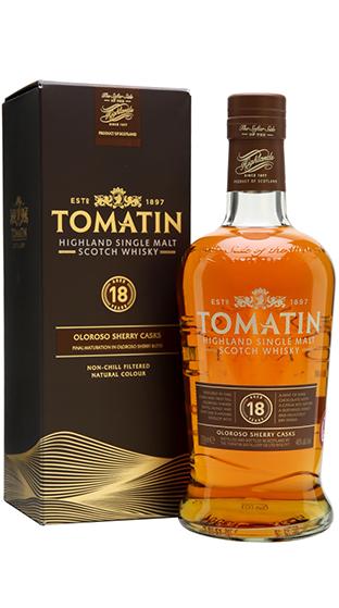 Skotská single malt whisky Tomatin 18yo box